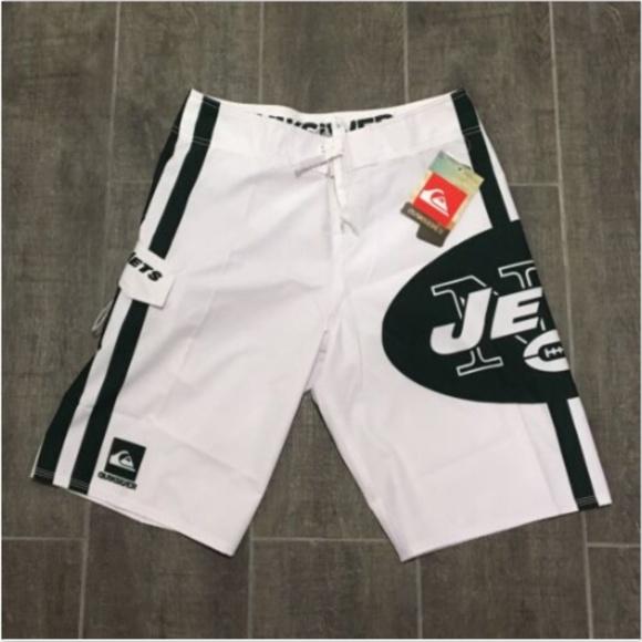 c420219f Quiksilver NFL NY Jets White Board Shorts Swim NWT